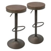 LumiSource Dakota Adjustable Barstools in Antique/Brown (Set of 2)
