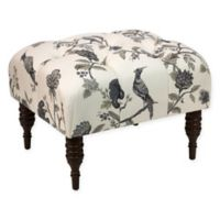 Skyline Furniture Tufted Ottoman in Ink Cream