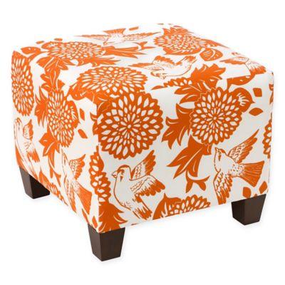 Skyline Furniture Ottoman In Garden Bird Orange
