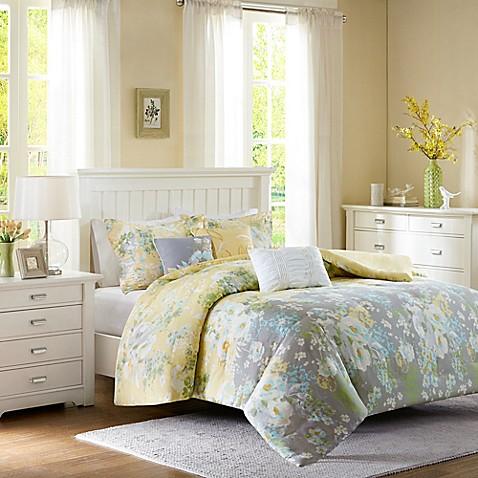 Madison Park Hannah 7-Piece Comforter Set in Yellow - Bed Bath & Beyond