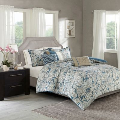 Madison Park Gabby 7 Piece King Comforter Set In Blue