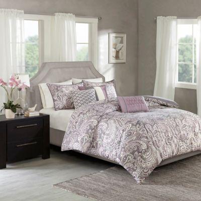 madison park gabby 7piece king comforter set in purple