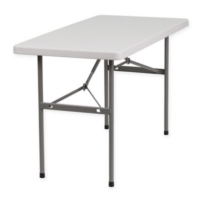 flash furniture 4foot rectangular folding table in granite white