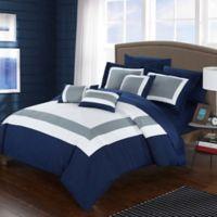 Chic Home Dylan 10-Piece Queen Comforter Set in Navy