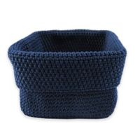 Hand Crocheted Small Square Basket in Navy