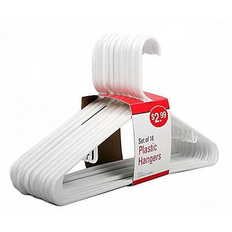 18-Count Value Pack Plastic Hangers in White