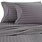 Wamsutta® Damask Stripe 500-Thread-Count PimaCott® Queen Sheet Set in Grey