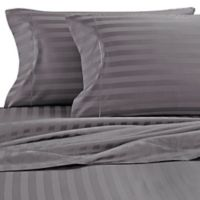 Wamsutta® Damask Stripe 500-Thread-Count PimaCott® Twin Sheet Set in Grey