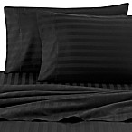 Wamsutta® Damask Stripe 500-Thread-Count PimaCott® Queen Sheet Set in Black
