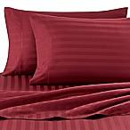 Wamsutta® Damask Stripe 500-Thread-Count PimaCott® Queen Sheet Set in Burgundy