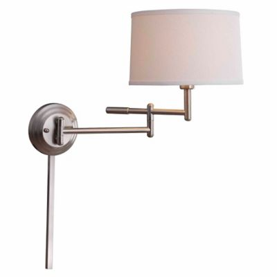 kenroy home theta 1light swing arm wall lamp in brushed steel