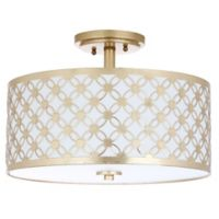 Safavieh Hutch 3-Light Semi Flush-Mount Ceiling Fixture in Gold