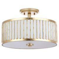 Safavieh Pierce 3-Light Semi Flush-Mount Ceiling Fixture in Gold