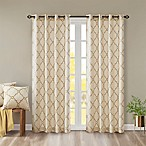 Madison Park Saratoga Fretwork 63-Inch Window Curtain in Beige/Gold