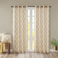 Madison Park Saratoga Fretwork 108-Inch Window Curtain in Beige/Gold