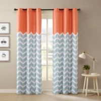 Intelligent Design Alex Chevron 63-Inch Printed Grommet Top Window Curtain Panel Pair in Orange