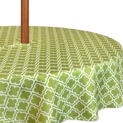 Lattice 60 Inch Round Tablecloth In Green/White With Umbrella Hole