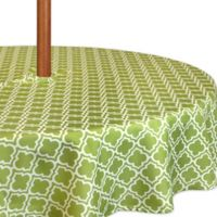 Lattice 60-Inch Round Tablecloth in Green/White with Umbrella Hole