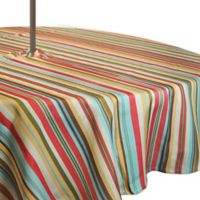 Stripe 60-Inch Round Tablecloth with Umbrella Hole