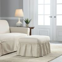 Perfect Fit Relaxed Fit Cotton Duck Ruffle Ottoman Slipcover in Natural