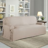 Perfect Fit Relaxed Fit Cotton Duck T-Cushion Sofa Slipcover in Khaki