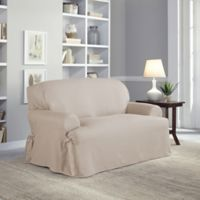 Perfect Fit Relaxed Fit Cotton Duck T-Cushion Loveseat Slipcover in Khaki