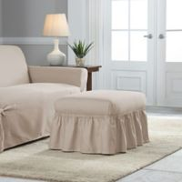 Perfect Fit Relaxed Fit Cotton Duck Ruffle Ottoman Slipcover in Khaki