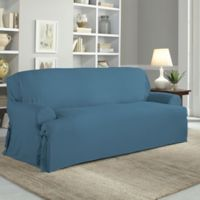 Perfect Fit Relaxed Cotton Duck T Cushion Sofa Slipcover In Indigo