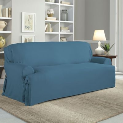 Perfect Fit Relaxed Fit Cotton Duck T Cushion Sofa Slipcover In Indigo