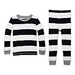 Burt's Bees Baby® Size 12M 2-Piece Rugby Stripe Organic Cotton Pajama Set in Navy