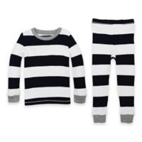 Burt's Bees Baby® Size 4T 2-Piece Rugby Stripe Organic Cotton Pajama Set in Navy