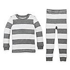 Burt's Bees Baby® Size 18M Rugby Stripe Organic Cotton 2-Piece Pajama Set in Grey