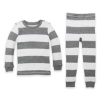Burt's Bees Baby® Size 12M Rugby Stripe Organic Cotton 2-Piece Pajama Set in Grey