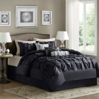 Madison Park Laurel 7-Piece California King Comforter Set in Black