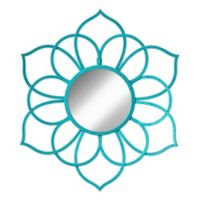 Kate And Laurel Brienne 21-Inch x 24-Inch Round Flower Wall Mirror in Teal
