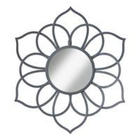 Kate And Laurel Brienne 21-Inch x 24-Inch Round Flower Wall Mirror in Grey