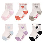 Oshkosh B'Gosh® Size 3-12M 6-Pack Heart Socks