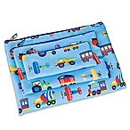 Olive Kids Trains, Planes and Trucks 3-Piece Organizer Pouch Set in Blue