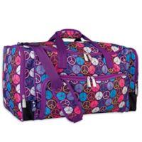 Wildkin Weekender Duffel Bag in Purple Peace Signs