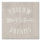 Designs Direct Little Lady Follow Your Dreams Arrow 12-Inch x 12-Inch Canvas Wall Art in Grey