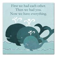 Designs Direct First Mate Little Whale Family 12-Inch x 12-Inch Canvas Wall Art in Blue