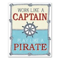 Designs Direct First Mate Work Like A Captain 16-Inch x 20-Inch Canvas Wall Art