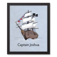 Designs Direct First Mate Pirate Ship Captain 11-Inch x 14-Inch Canvas Wall Art in Blue