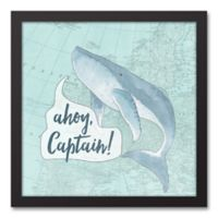 Designs Direct First Mate Ahoy Captain 12-Inch x 12-Inch Canvas Wall Art in Blue