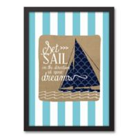 Designs Direct First Mate Set Sail Dreamer 12-Inch x 18-Inch Canvas Wall Art in Blue Stripes