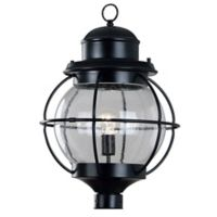 Kenroy Home Hatteras Outdoor 1-Light Post Lantern in Black