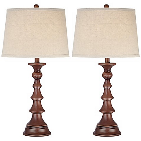 pacific coast lighting faux wood column table lamps set of 2 bed bath beyond. Black Bedroom Furniture Sets. Home Design Ideas