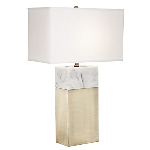 Pacific coast lighting kathy ireland home block faux marble table lamp in antique brass