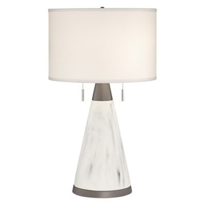 Pacific coast lighting kathy ireland home faux marble cone table lamp in antique brass