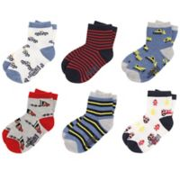 Capelli New York Size 2-4T 6-Pack Transportation Crew Socks with Grippers